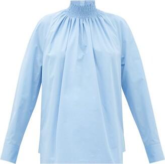 Prada High-neck Cotton-poplin Blouse - Light Blue