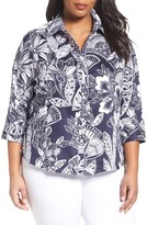Foxcroft Plus Size Women's Floral Print Wrinkle-Free Shirt