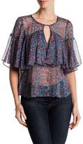 Rebecca Taylor Silk Short Sleeve Lindsay Ruffle Blouse