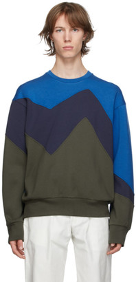 Neil Barrett Blue and Khaki Modernist Sweatshirt