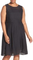 Ellen Tracy 'Sheer Squares' Sleeveless Fit & Flare Dress (Plus Size)