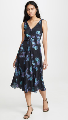 Vince Painted Floral Twist Front Dress