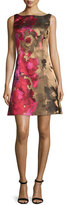 Kay Unger New York Sleeveless Floral Taffeta Cocktail Dress, Pink/Multicolor