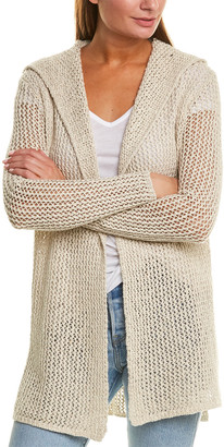 James Perse Open Stitch Hooded Linen-Blend Cardigan
