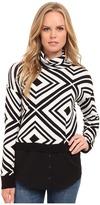 Kensie Cotton Blend Aztec Sweater KS9K5776