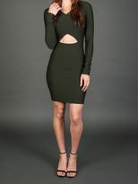 Donna Mizani V-Neck Cut Out Dress In Olive