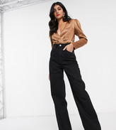 Asos Tall DESIGN Tall High rise 'relaxed' dad jeans in washed black