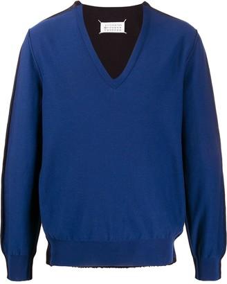 Maison Margiela Two-Tone Cotton Blend Sweater