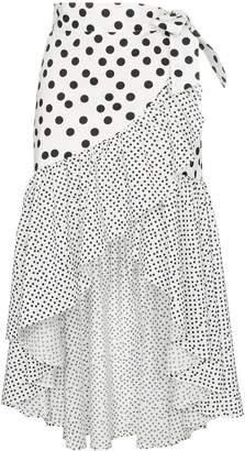 De La Vali Castana polka-dot ruffled-cotton wrap skirt
