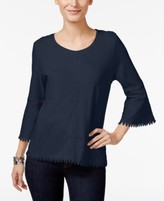 Style&Co. Style & Co Style & Co Petite Crochet-Trim Lantern-Sleeve Top, Created for Macy's