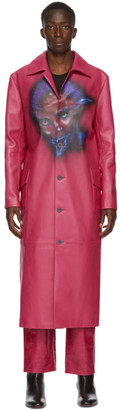 Mowalola Pink Leather Monster Coat