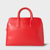Paul Smith Women's Red Leather Bowling Bag With 'Artist Stripe' Lining