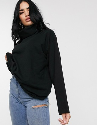 Asos DESIGN high neck cosy oversized sweat in black