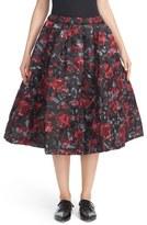 Comme des Garcons Quilted Floral Print & Leaf Jacquard A-Line Skirt