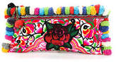 Joelle Gagnard Mulit Color Red Sequin Rose Bird Detail Small Clutch