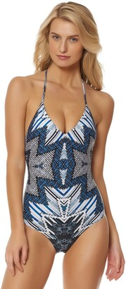 Red Carter Women's Indigo Blues Lace Up Back Mio Tie Halter One Piece Swimsuit