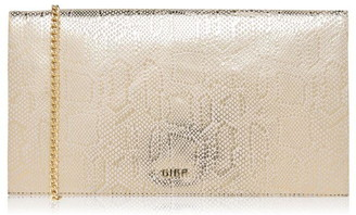 Biba Foldover Chain Strap Leather Clutch
