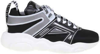 Moschino Teddy Sneakers In Fabric And Black Leather