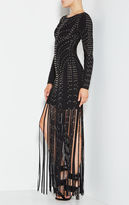 Herve Leger Kadence Eyelet Fringe Dress