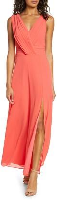 Adelyn Rae Sylvia V-Neck Chiffon Maxi Dress