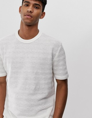 Asos Design DESIGN relaxed t-shirt in textured fabric-Beige