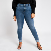 River Island Plus blue turn-up Molly mid rise jeggings