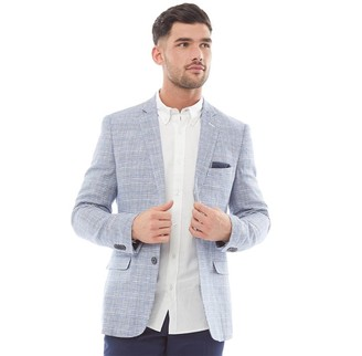 French Connection Mens Linen Check Blazer Marine/Grey