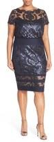 Tadashi Shoji Plus Size Women's Sequin Embroidered Blouson Dress