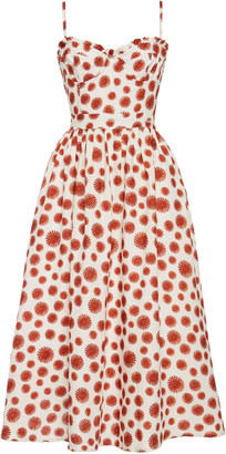 Agua Bendita Acacia Erizos Printed Linen Midi Dress