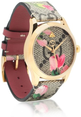 Gucci G-Timeless GG Bloom leather watch