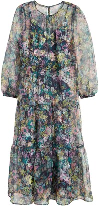 Halogen X Atlantic-Pacific Long Sleeve Floral Sheer Tiered Maxi Dress