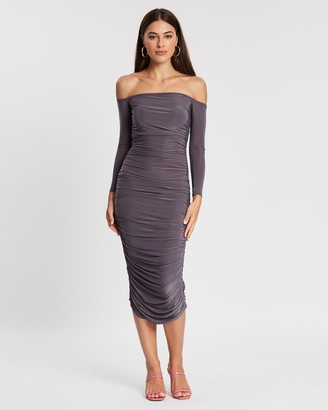 Missguided Bardot Slinky Ruched Midaxi Dress