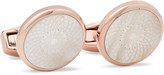 Tateossian Rotondo Guilloché Rose Gold-Plated Mother-of-Pearl Cufflinks