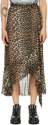 Ganni Brown and Black Mesh Printed Wrap Skirt