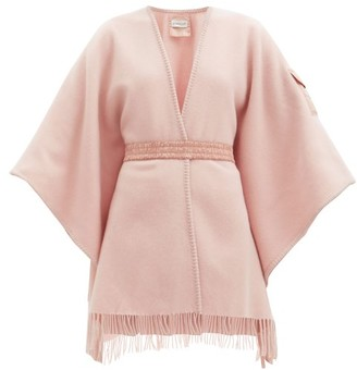 Moncler Patch-pocket Brushed-wool Wrap Shawl - Light Pink