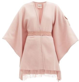 Moncler Patch-pocket Brushed-wool Wrap Shawl - Light Pink