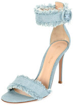 Gianvito Rossi Frayed Denim d'Orsay Sandal, Gray