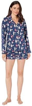 Bedhead Pajamas Long Sleeve Classic Shorty Pajama Set (Wine Tasting) Women's Pajama Sets