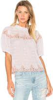 Rebecca Taylor Short Sleeve Clip Mix Top
