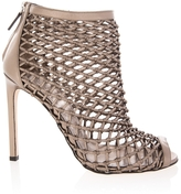 Gucci Metallic Leather Weave High Heel Boots