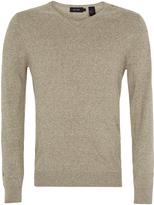 Oxford Cotton V-Neck Knit Blue X