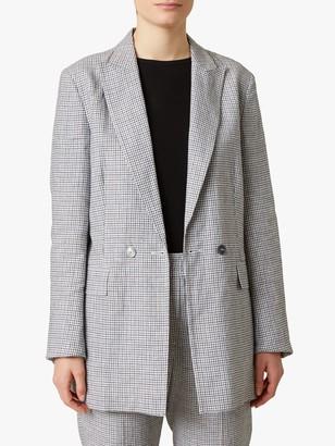 Jigsaw Irish Check Linen Blend Blazer, Monochrome