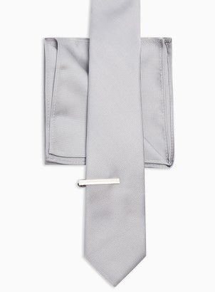 Topman Silver Tie, Clip and Pocket Multipack