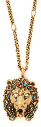 Gucci Lion Crystal Embellished Pendant Necklace - Womens - Gold