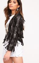 PrettyLittleThing Lucy Black Faux Leather Fringed Crop Jacket