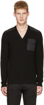 DSQUARED2 Black V-neck Pocket Sweater