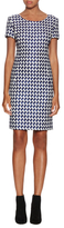 Oscar de la Renta Metallic Tweed Short Sleeve Dress