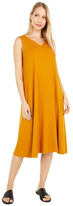 Eileen Fisher V-Neck Calf Length Flare Dress (Goldenrod) Women's Dress