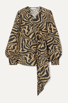 Ganni Tiger-print Cotton-poplin Wrap Blouse - Sand