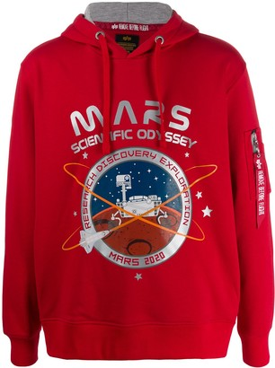 Alpha Industries zipped pocket Mars print hoodie